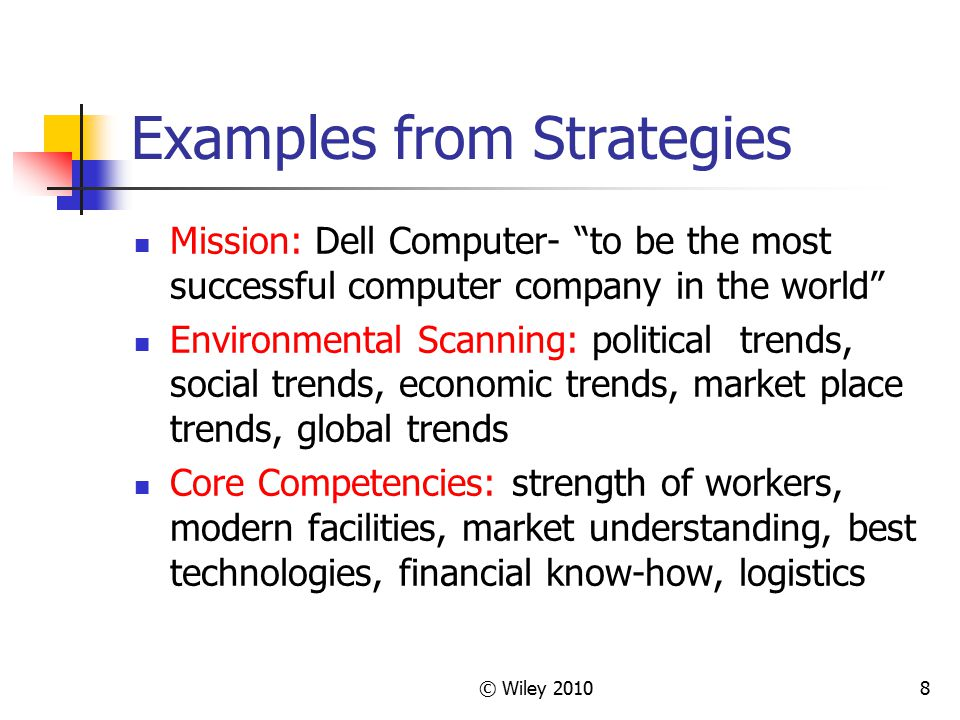 """© Wiley 20108 Examples from Strategies Mission: Dell Computer- """"to be the most successful computer company in the world"""" Environmental Scanning: polit"""