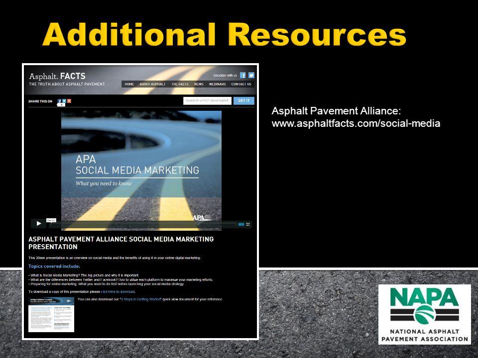 Asphalt Pavement Alliance: www.asphaltfacts.com/social-media