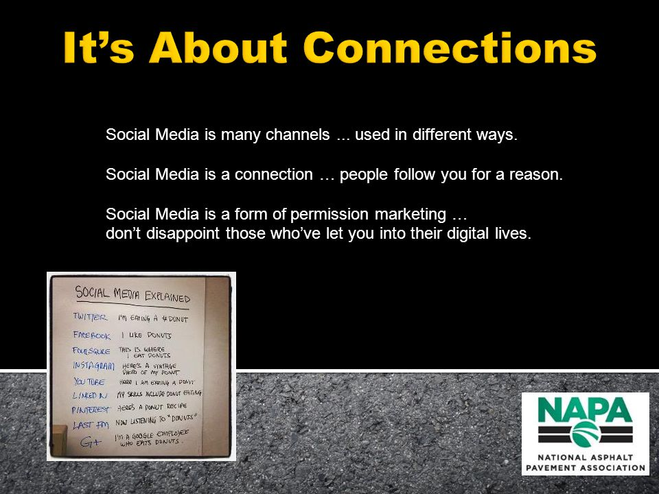 Social Media is many channels... used in different ways.