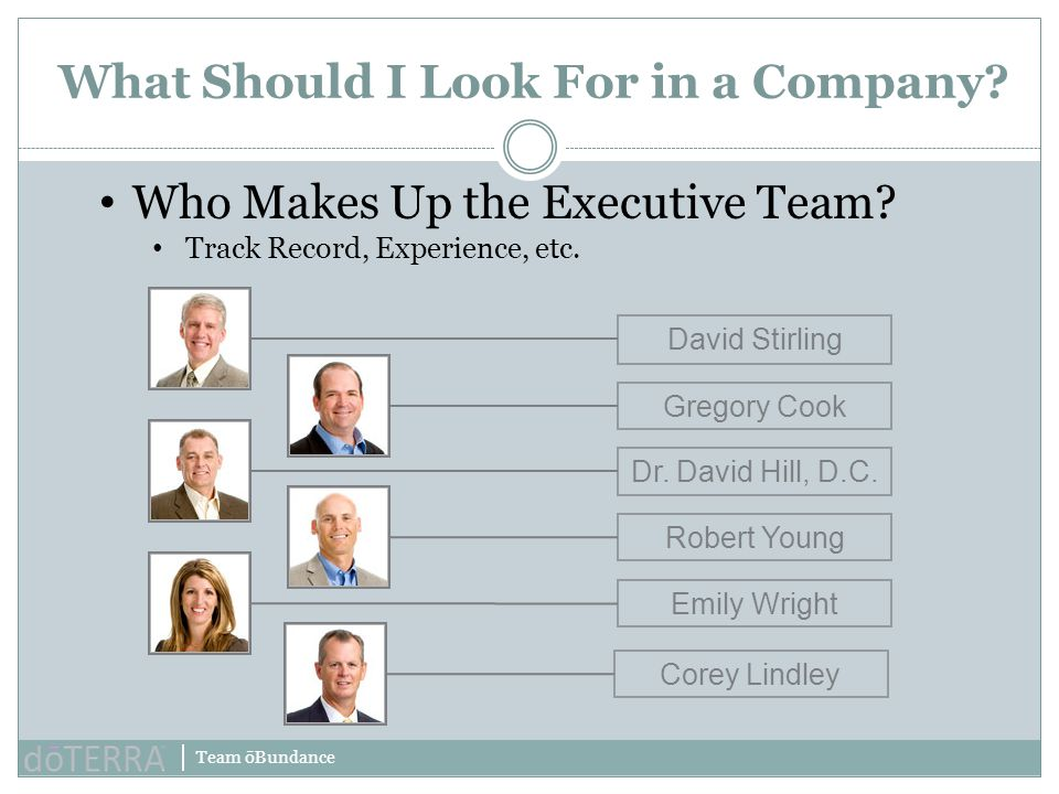 Team ōBundance What Should I Look For in a Company? Who Makes Up the Executive Team? Track Record, Experience, etc. David StirlingGregory CookDr. Davi
