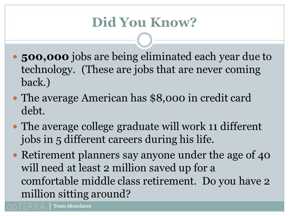 Team ōBundance 500,000 jobs are being eliminated each year due to technology. (These are jobs that are never coming back.) The average American has $8