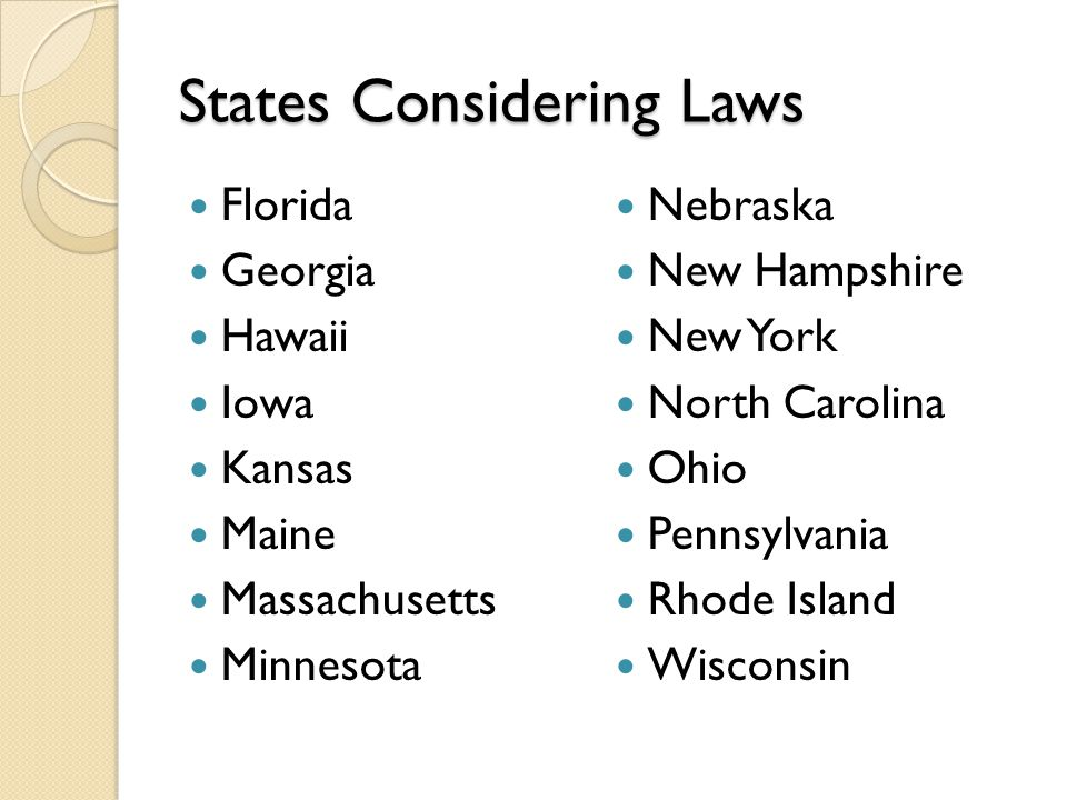 States Considering Laws Florida Georgia Hawaii Iowa Kansas Maine Massachusetts Minnesota Nebraska New Hampshire New York North Carolina Ohio Pennsylvania Rhode Island Wisconsin