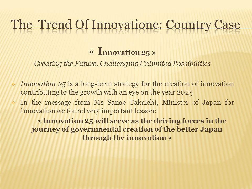 « I nnovation 25 » Creating the Future, Challenging Unlimited Possibilities  Innovation 25 is a long-term strategy for the creation of innovation con
