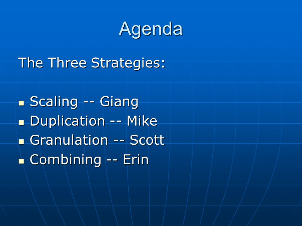 Agenda The Three Strategies: Scaling -- Giang Scaling -- Giang Duplication -- Mike Duplication -- Mike Granulation -- Scott Granulation -- Scott Combining -- Erin Combining -- Erin