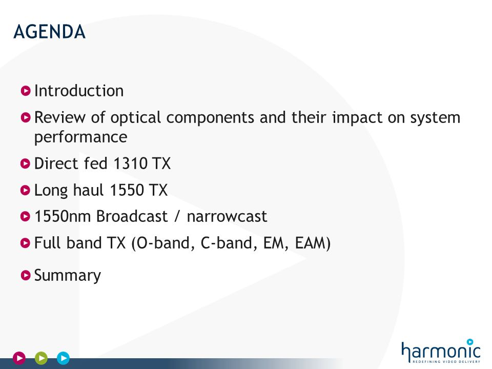Harmonic Confidential Introduction Review of optical components and their impact on system performance Direct fed 1310 TX Long haul 1550 TX 1550nm Broadcast / narrowcast Full band TX (O-band, C-band, EM, EAM) Summary