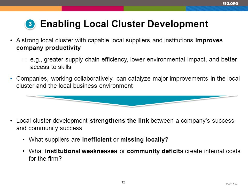 FSG.ORG © 2011 FSG 12 A strong local cluster with capable local suppliers and institutions improves company productivity –e.g., greater supply chain efficiency, lower environmental impact, and better access to skills Companies, working collaboratively, can catalyze major improvements in the local cluster and the local business environment Local cluster development strengthens the link between a company's success and community success What suppliers are inefficient or missing locally.