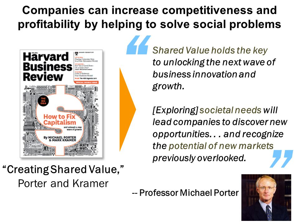 Companies can increase competitiveness and profitability by helping to solve social problems Creating Shared Value, Porter and Kramer Shared Value holds the key to unlocking the next wave of business innovation and growth.