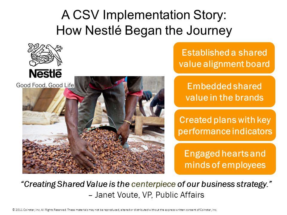 A CSV Implementation Story: How Nestlé Began the Journey © 2011 Coinstar, Inc.