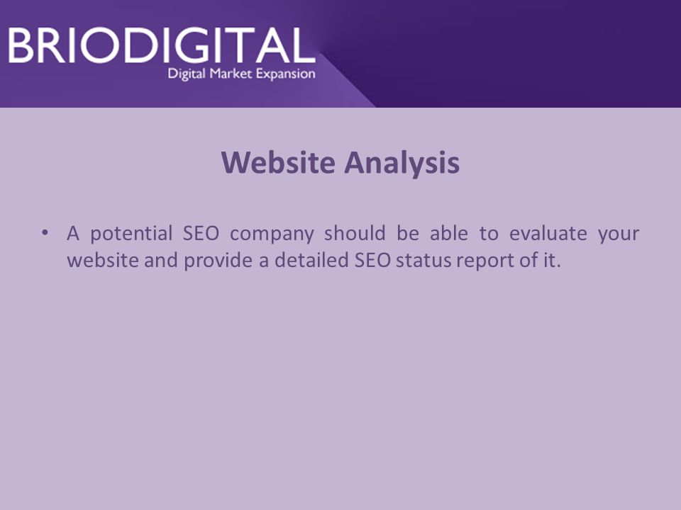 Website Analysis A potential SEO company should be able to evaluate your website and provide a detailed SEO status report of it.