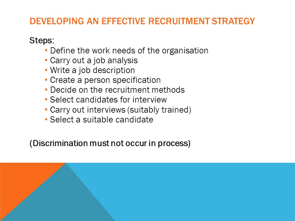 DEVELOPING AN EFFECTIVE RECRUITMENT STRATEGY Steps: Define the work needs of the organisation Carry out a job analysis Write a job description Create a person specification Decide on the recruitment methods Select candidates for interview Carry out interviews (suitably trained) Select a suitable candidate (Discrimination must not occur in process)