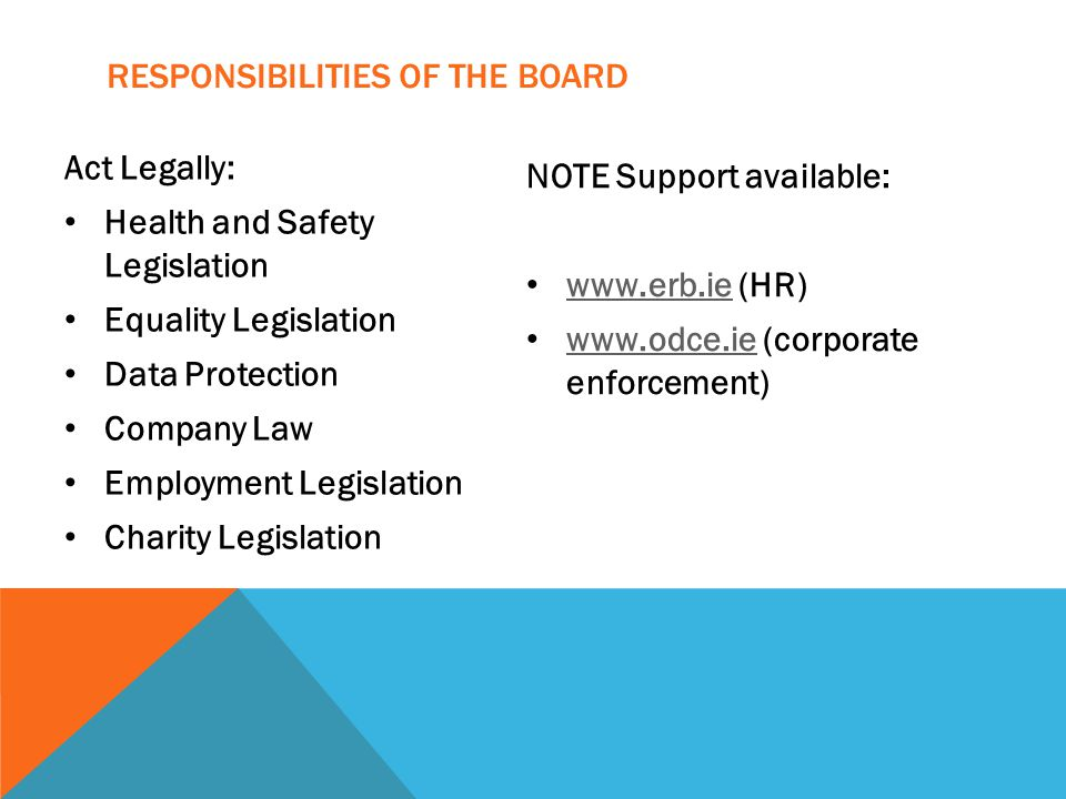 RESPONSIBILITIES OF THE BOARD Act Legally: Health and Safety Legislation Equality Legislation Data Protection Company Law Employment Legislation Charity Legislation NOTE Support available: www.erb.ie (HR) www.erb.ie www.odce.ie (corporate enforcement) www.odce.ie