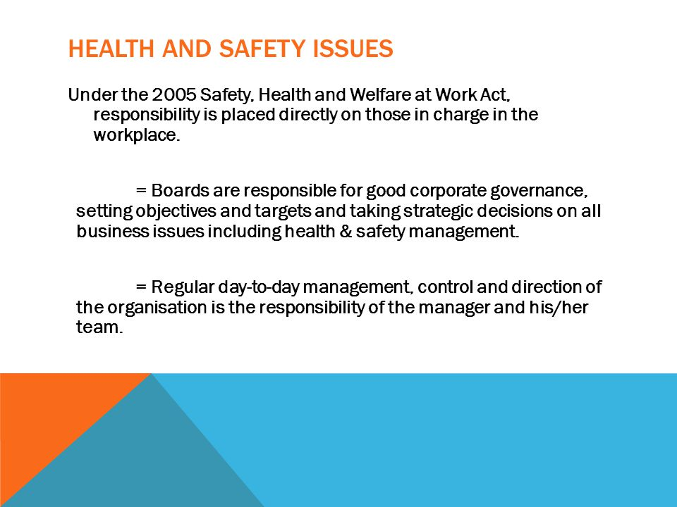 HEALTH AND SAFETY ISSUES Under the 2005 Safety, Health and Welfare at Work Act, responsibility is placed directly on those in charge in the workplace.