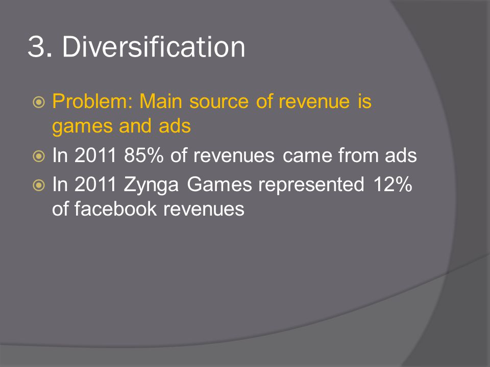 3. Diversification  Problem: Main source of revenue is games and ads  In 2011 85% of revenues came from ads  In 2011 Zynga Games represented 12% of