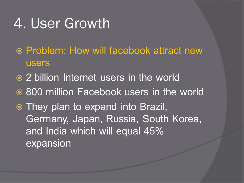 4. User Growth  Problem: How will facebook attract new users  2 billion Internet users in the world  800 million Facebook users in the world  They