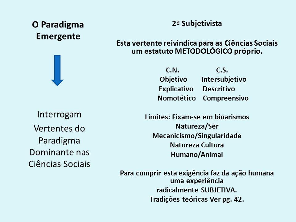 O Paradigma Emergente 2ª Subjetivista Esta vertente reivindica para as Ciências Sociais um estatuto METODOLÓGICO próprio.