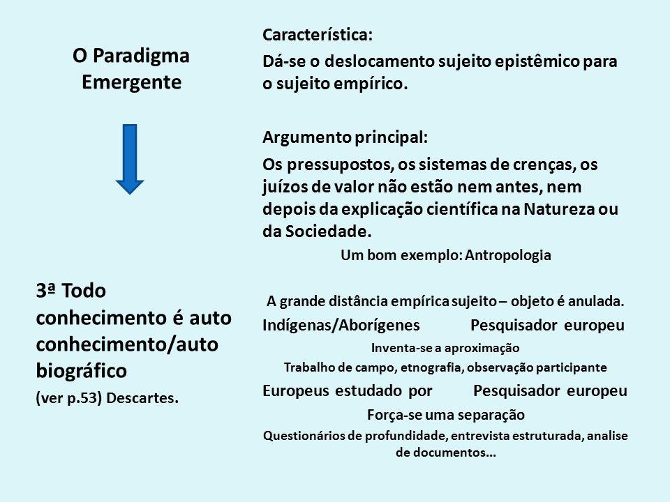 O Paradigma Emergente Característica: Dá-se o deslocamento sujeito epistêmico para o sujeito empírico.