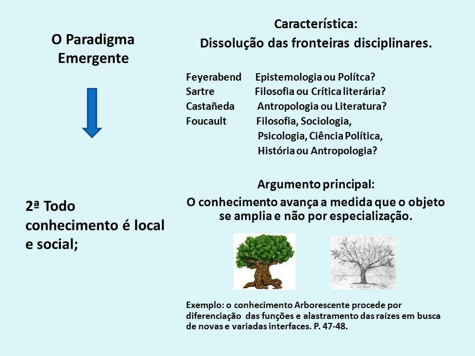 O Paradigma Emergente Característica: Dissolução das fronteiras disciplinares.