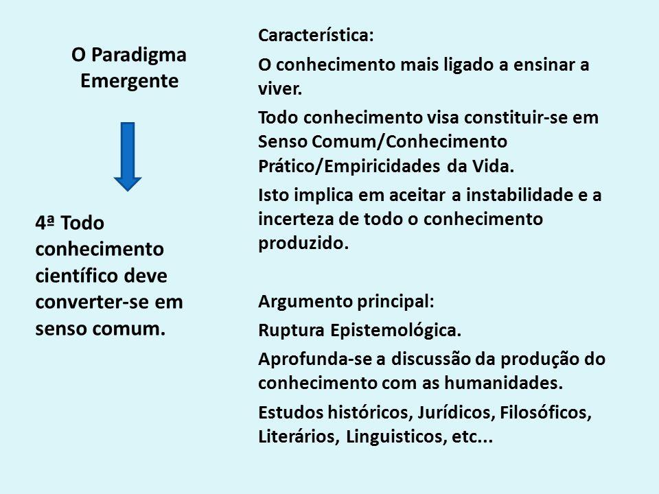 O Paradigma Emergente Característica: O conhecimento mais ligado a ensinar a viver.