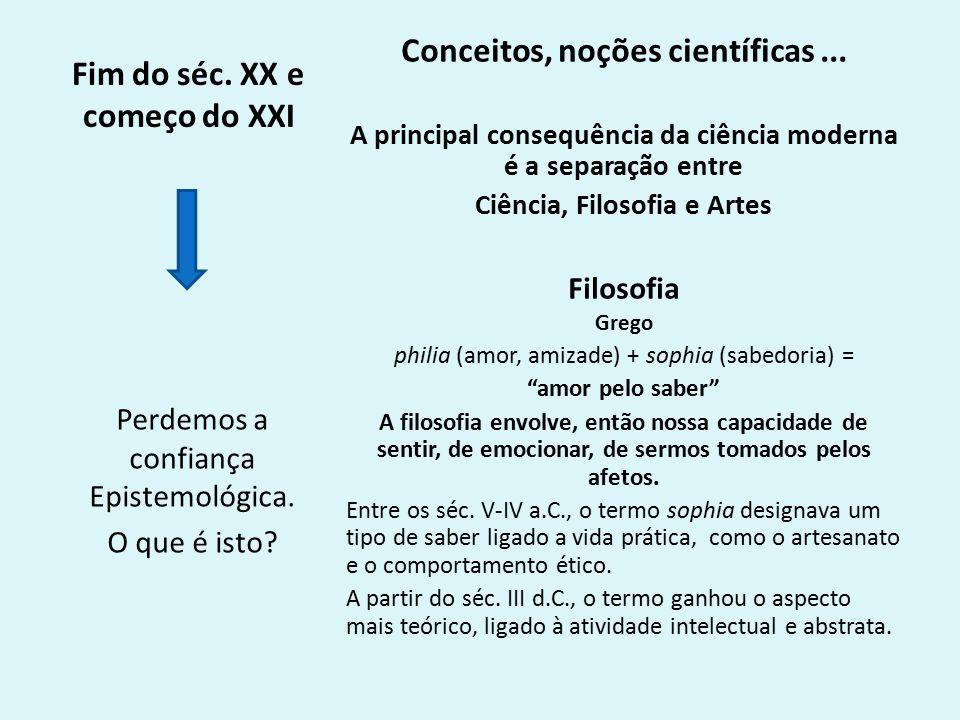 Fim do séc.XX e começo do XXI Conceitos, noções científicas...