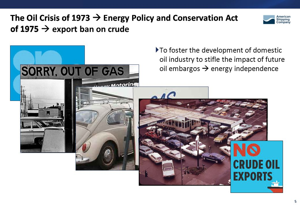 5 The Oil Crisis of 1973  To foster the development of domestic oil industry to stifle the impact of future oil embargos  energy independence The Oil Crisis of 1973  Energy Policy and Conservation Act of 1975 The Oil Crisis of 1973  Energy Policy and Conservation Act of 1975  export ban on crude