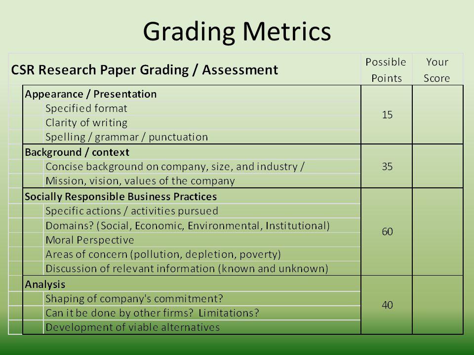 Grading Metrics