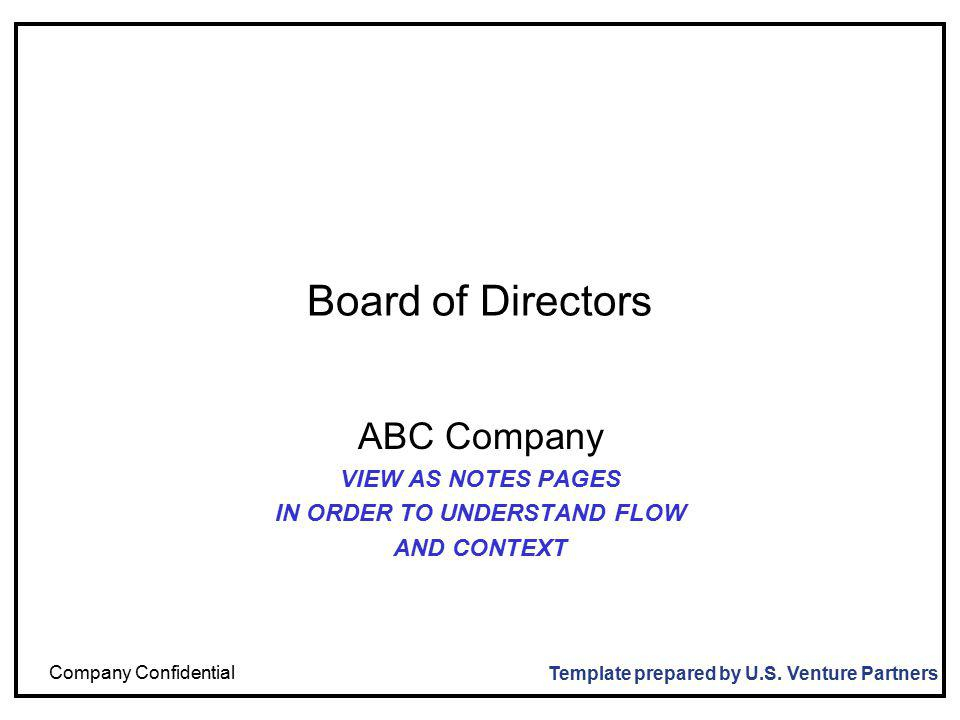 Company Confidential Board of Directors ABC Company VIEW AS NOTES PAGES IN ORDER TO UNDERSTAND FLOW AND CONTEXT Template prepared by U.S.
