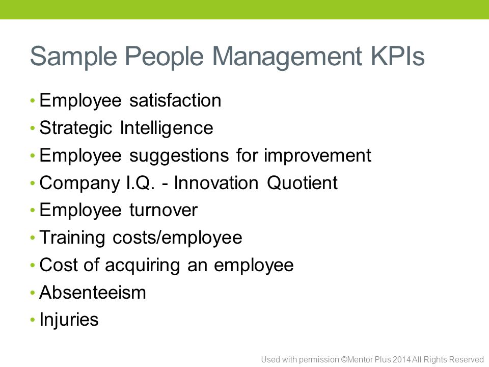 Used with permission ©Mentor Plus 2014 All Rights Reserved Sample People Management KPIs Employee satisfaction Strategic Intelligence Employee suggestions for improvement Company I.Q.