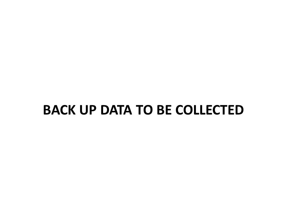 BACK UP DATA TO BE COLLECTED