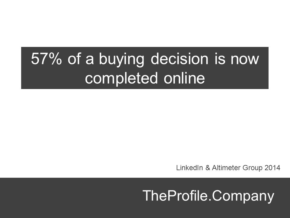 TheProfile.Company 57% of a buying decision is now completed online LinkedIn & Altimeter Group 2014