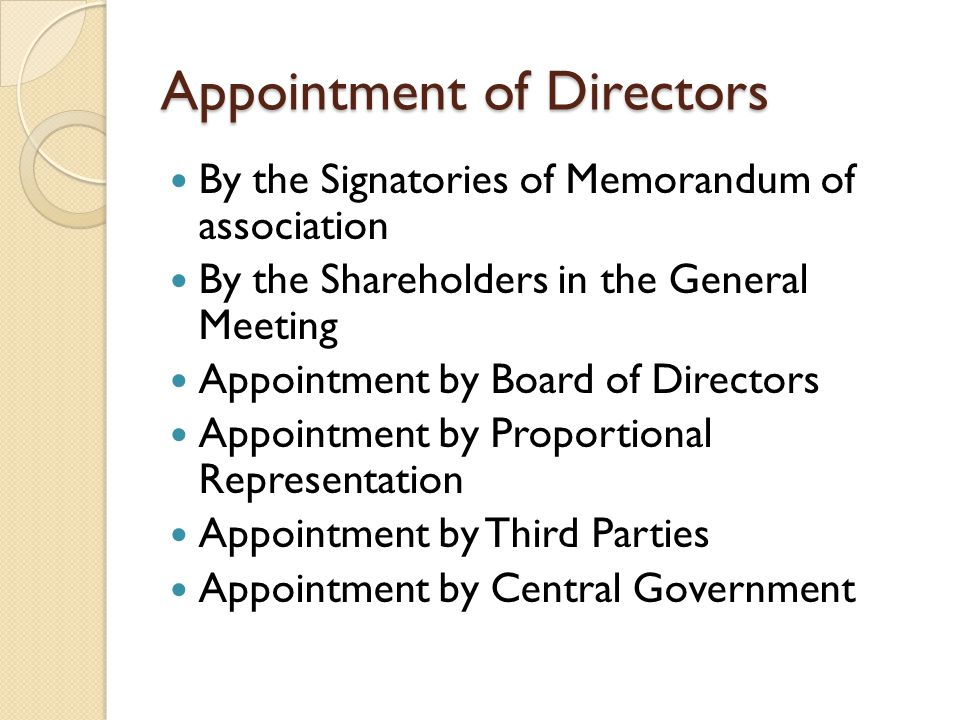 Appointment of Directors By the Signatories of Memorandum of association By the Shareholders in the General Meeting Appointment by Board of Directors