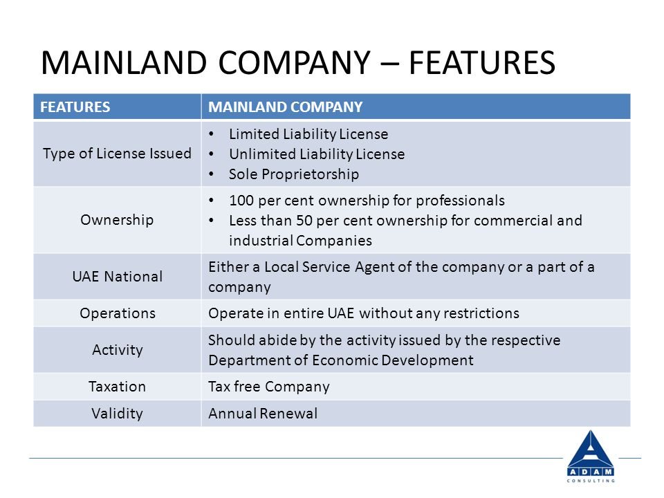 MAINLAND COMPANY – FEATURES FEATURESMAINLAND COMPANY Type of License Issued Limited Liability License Unlimited Liability License Sole Proprietorship Ownership 100 per cent ownership for professionals Less than 50 per cent ownership for commercial and industrial Companies UAE National Either a Local Service Agent of the company or a part of a company Operations Operate in entire UAE without any restrictions Activity Should abide by the activity issued by the respective Department of Economic Development Taxation Tax free Company Validity Annual Renewal