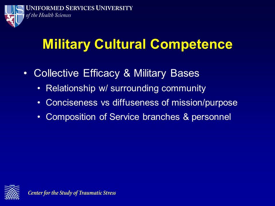 Military Cultural Competence Collective Efficacy & Military Bases Relationship w/ surrounding community Conciseness vs diffuseness of mission/purpose Composition of Service branches & personnel