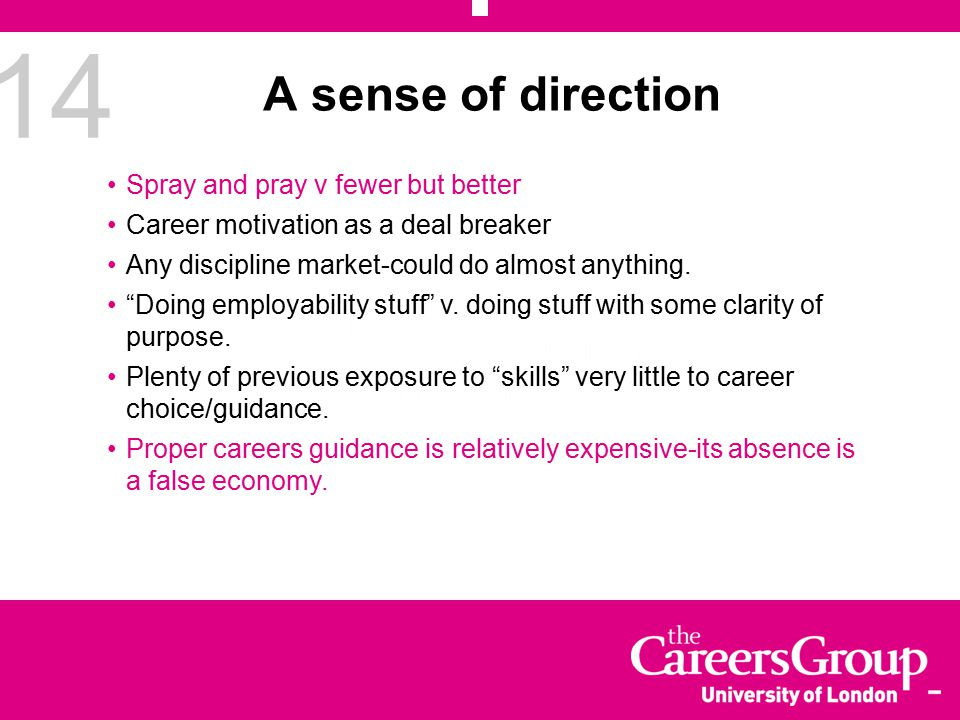 14 A sense of direction Spray and pray v fewer but better Career motivation as a deal breaker Any discipline market-could do almost anything.