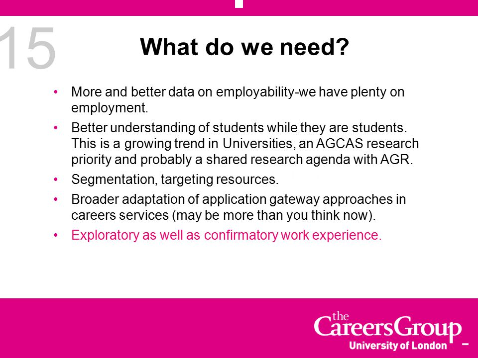 15 What do we need.More and better data on employability-we have plenty on employment.
