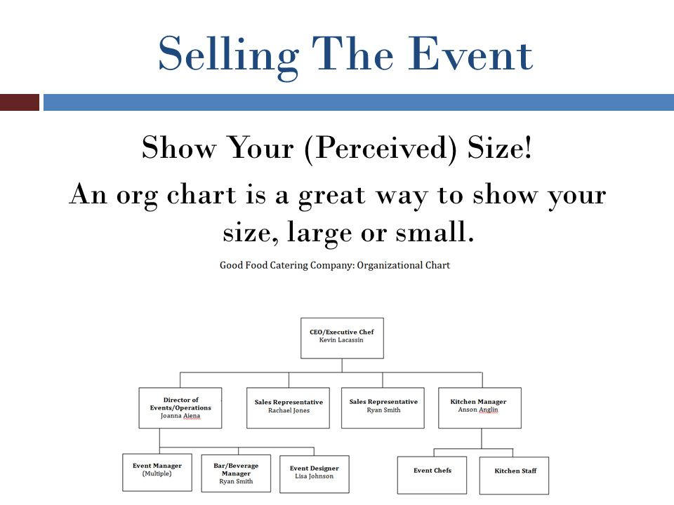 Selling The Event Show Your (Perceived) Size! An org chart is a great way to show your size, large or small.