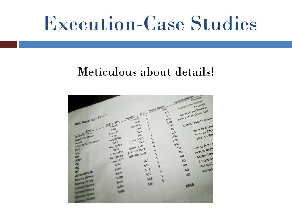 Execution-Case Studies Meticulous about details!