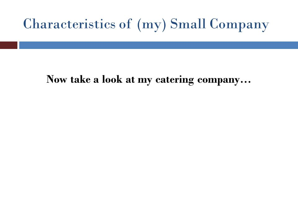 Characteristics of (my) Small Company Now take a look at my catering company…