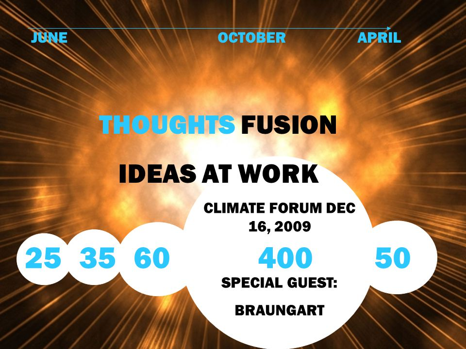 JUNEOCTOBERAPRIL THOUGHTS FUSION IDEAS AT WORK CLIMATE FORUM DEC 16, 2009 SPECIAL GUEST: BRAUNGART 25 35 60400 50
