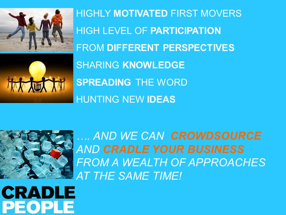 HIGHLY MOTIVATED FIRST MOVERS HIGH LEVEL OF PARTICIPATION FROM DIFFERENT PERSPECTIVES SHARING KNOWLEDGE SPREADING THE WORD HUNTING NEW IDEAS ….