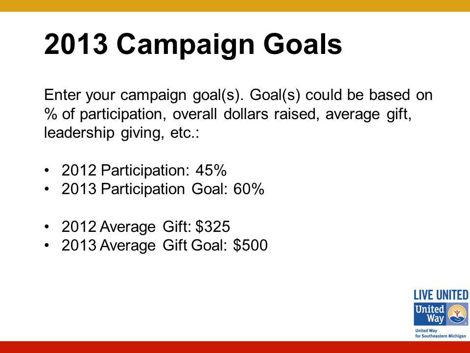 2013 Campaign Goals Enter your campaign goal(s).