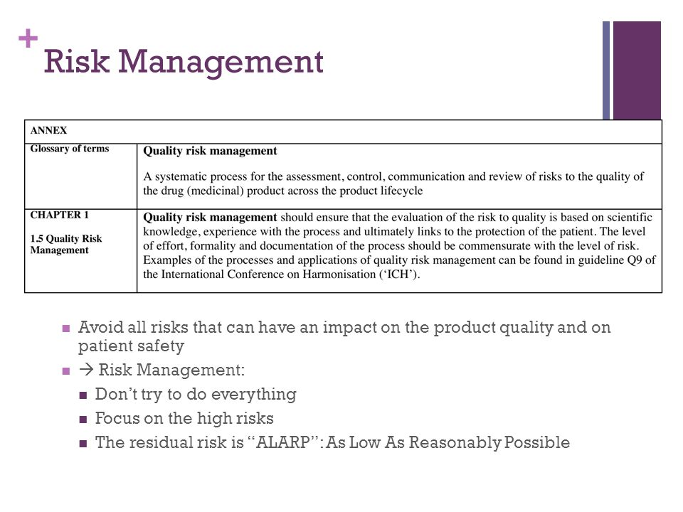 + Risk Management Avoid all risks that can have an impact on the product quality and on patient safety  Risk Management: Don't try to do everything F