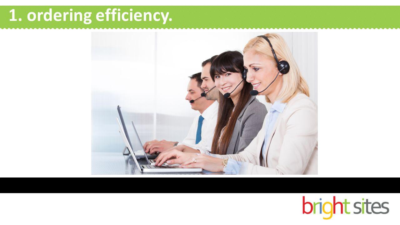 1. ordering efficiency.