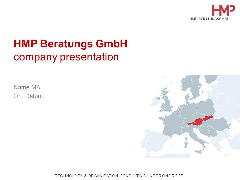 TECHNOLOGIE- & ORGANISATIONSBERATUNG AUS EINER HAND HMP Beratungs GmbH company presentation Name MA Ort, Datum TECHNOLOGY & ORGANISATION CONSULTING UNDER ONE ROOF
