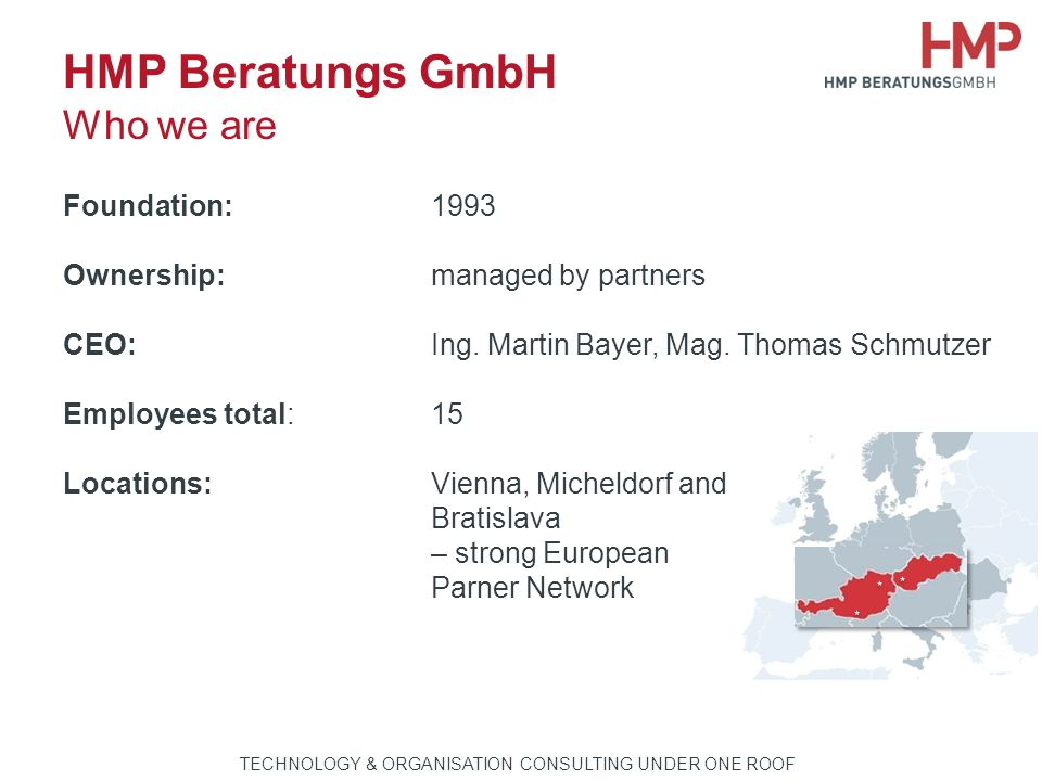TECHNOLOGIE- & ORGANISATIONSBERATUNG AUS EINER HAND HMP Beratungs GmbH Who we are Foundation:1993 Ownership:managed by partners CEO:Ing. Martin Bayer,