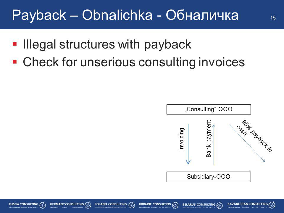 """ Illegal structures with payback  Check for unserious consulting invoices Payback – Obnalichka - Обналичка 15 95% payback in cash """"Consulting OOO Subsidiary-OOO Invoicing Bank payment"""