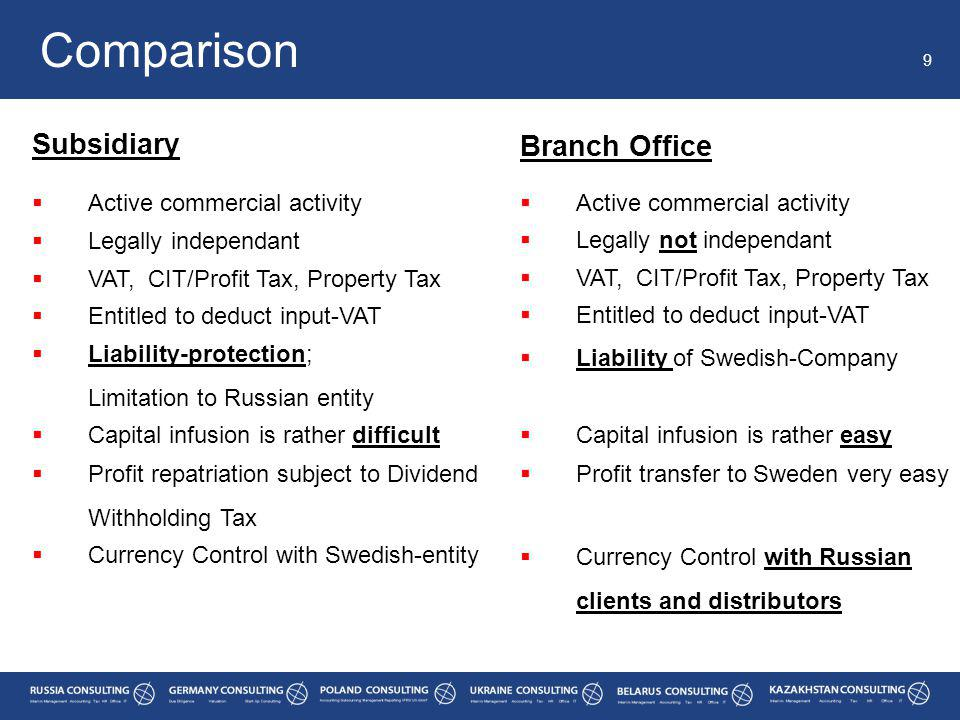 Comparison 9 Subsidiary Branch Office  Active commercial activity  Legally independant  Active commercial activity  Legally not independant  VAT, CIT/Profit Tax, Property Tax  Entitled to deduct input-VAT  Liability-protection; Limitation to Russian entity  Liability of Swedish-Company  Capital infusion is rather difficult  Capital infusion is rather easy  Profit repatriation subject to Dividend Withholding Tax  Profit transfer to Sweden very easy  Currency Control with Swedish-entity  Currency Control with Russian clients and distributors