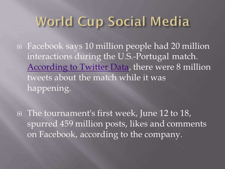  Facebook says 10 million people had 20 million interactions during the U.S.-Portugal match.