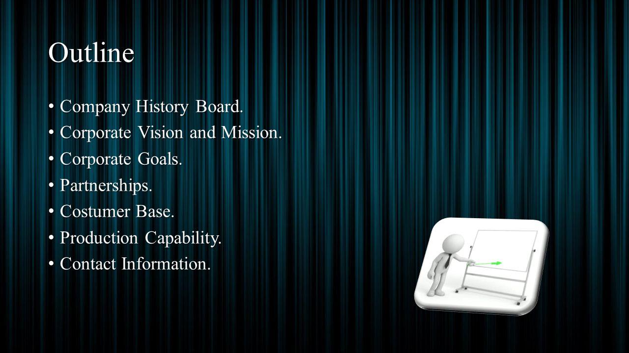 Outline Company History Board. Company History Board. Corporate Vision and Mission. Corporate Vision and Mission. Corporate Goals. Corporate Goals. Pa