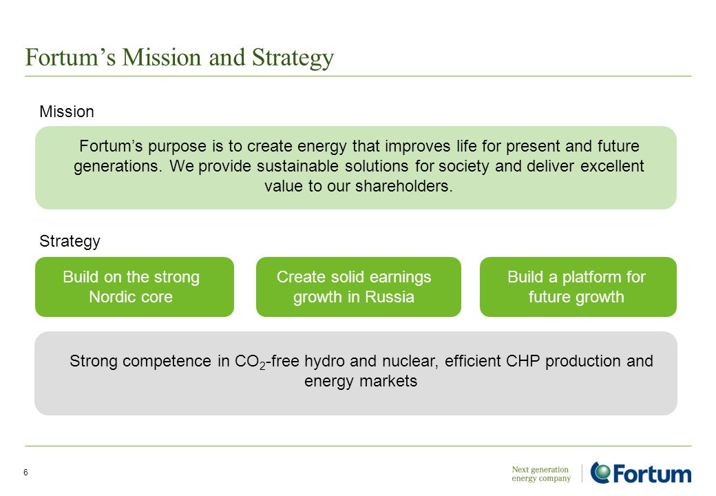 Fortum's Mission and Strategy 6 Strategy Fortum's purpose is to create energy that improves life for present and future generations. We provide sustai