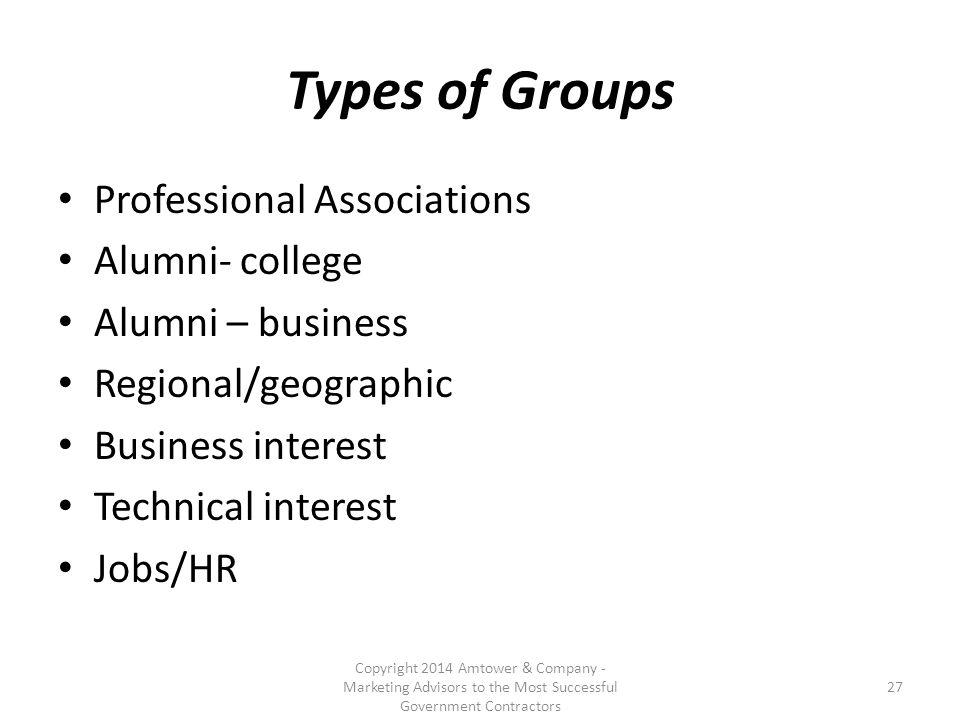 Types of Groups Professional Associations Alumni- college Alumni – business Regional/geographic Business interest Technical interest Jobs/HR Copyright 2014 Amtower & Company - Marketing Advisors to the Most Successful Government Contractors 27
